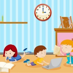 Kids learning at home vector