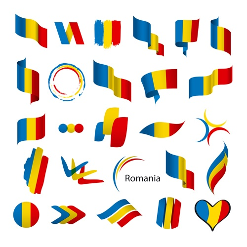 Abstract flags Icons set vector 06