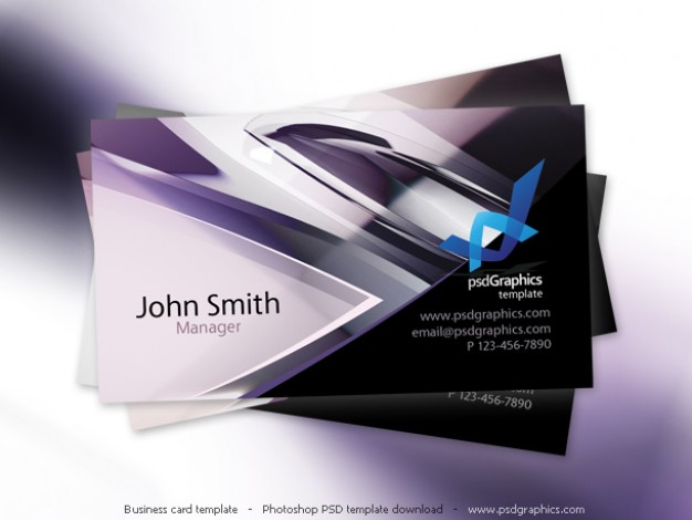 Abstract hi-tech design, business card template  PSD file | Free Download