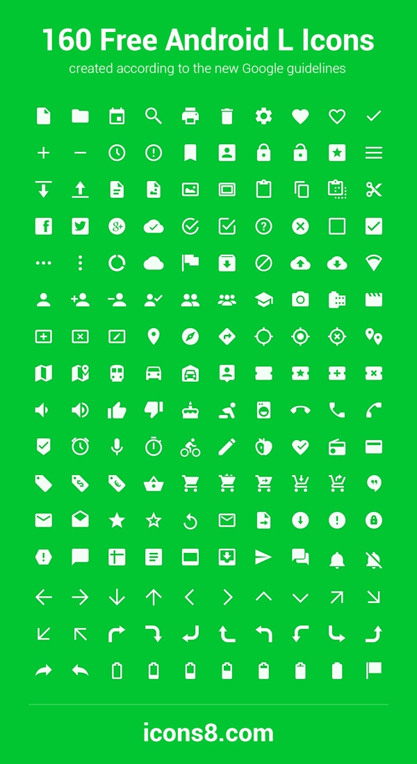 160 Android L Icons | GraphicBurger