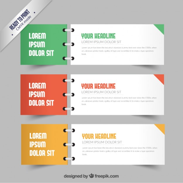 Banners in notebook style  Vector | Free Download