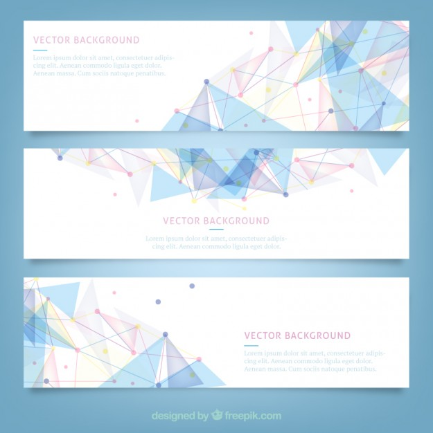 Banners with polygonal design  Vector | Free Download