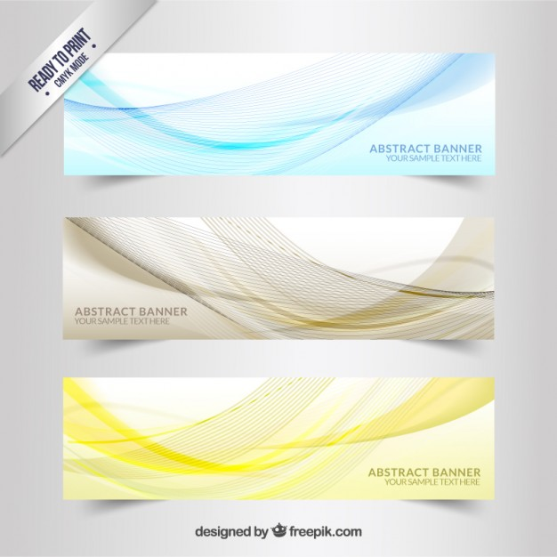 Banners with wavy lines pattern  Vector   Free Download