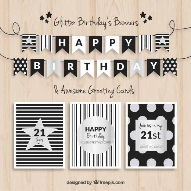 Birthday banners and cards black and silver Vector | Free Download