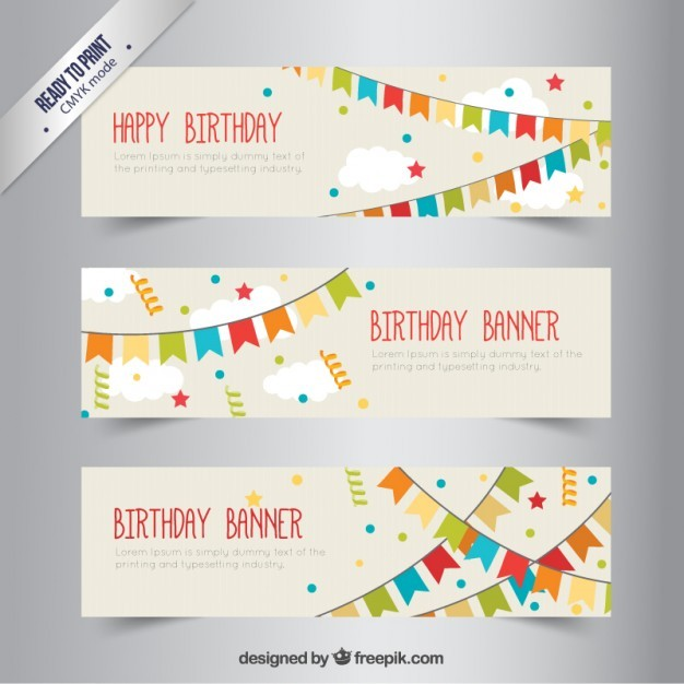 Birthday banners with bunting Vector | Free Download
