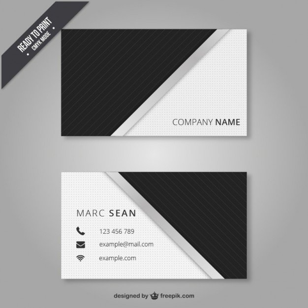 Black and white business card  Vector   Free Download