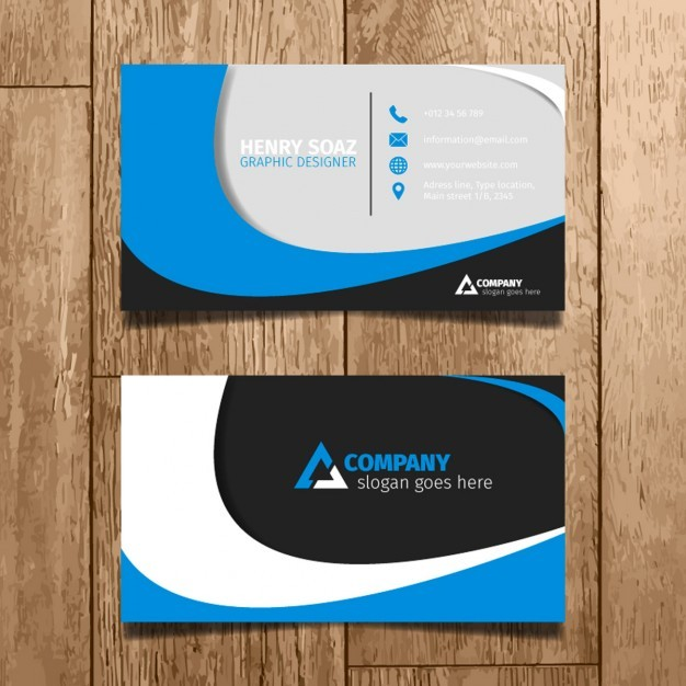 Blue Minimal Business Card  Vector | Free Download