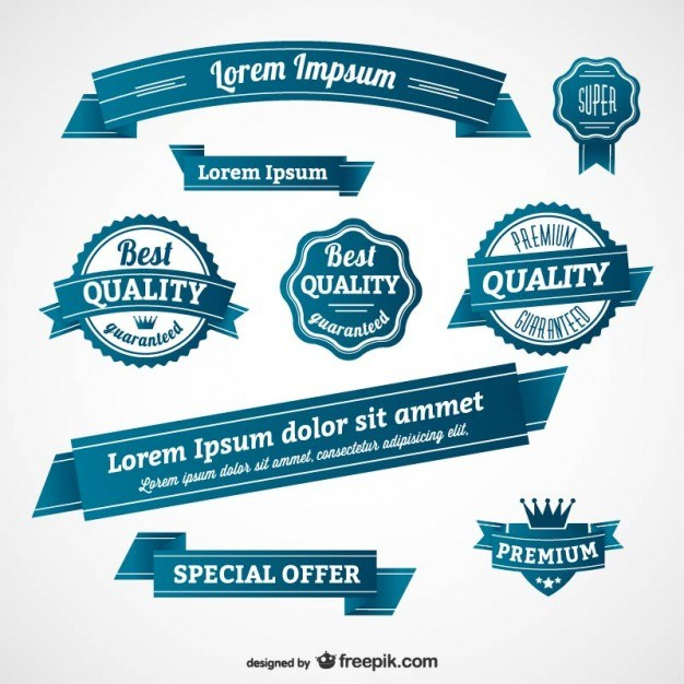 Blue retro badges and banners  Vector | Free Download