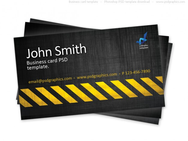 Business card template, construction hazard stripes theme  PSD file | Free Download