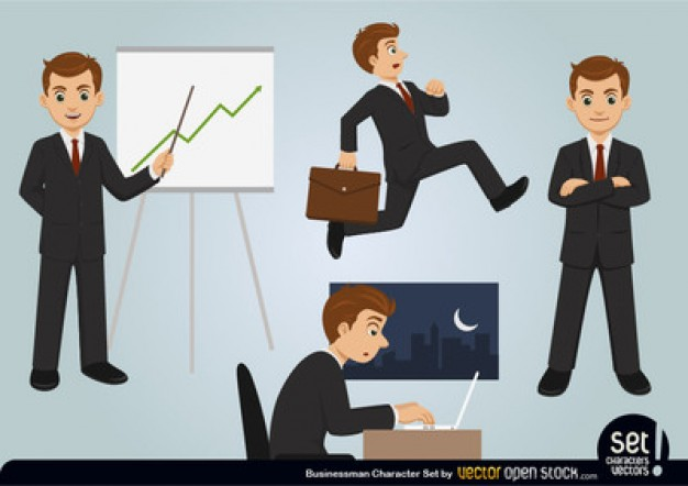 Businessman working cartoon characters