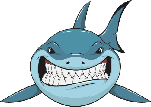 Cartoon funny shark vector material 03