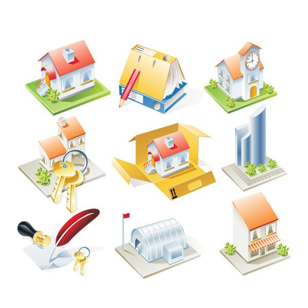 cartoon Houses Model vector