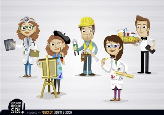 Cartoon people with different jobs