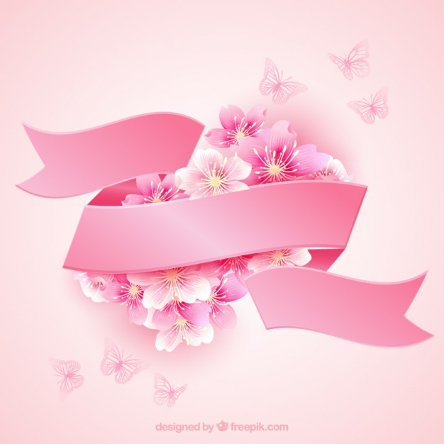 Cherry blossoms with a pink ribbon  Vector | Free Download