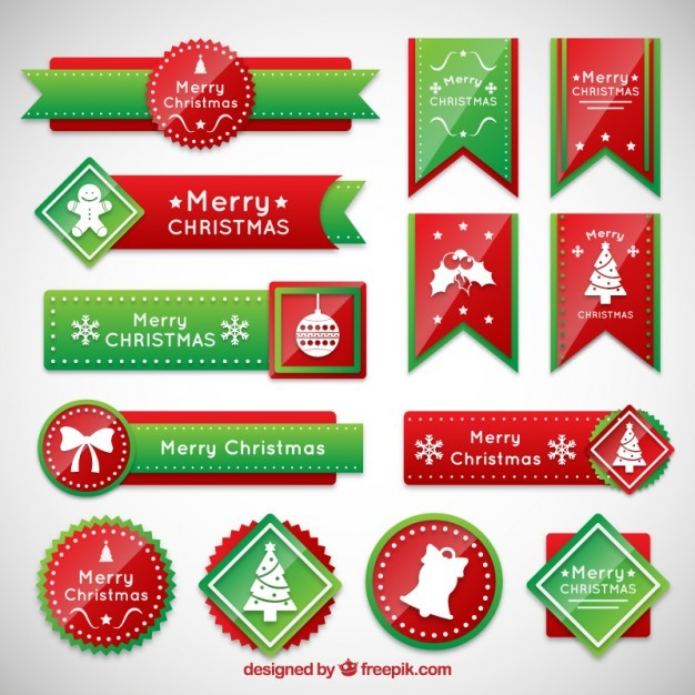 Christmas banners in red an green colors