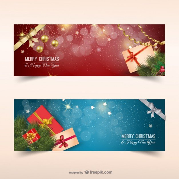 Christmas banners with presents  Vector | Free Download