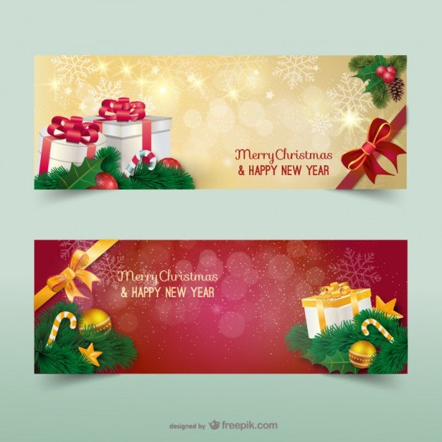 Christmas banners with sparks  Vector   Free Download