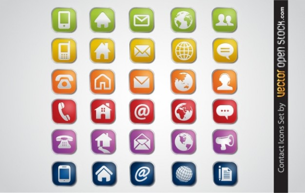 Colorful contact icons vector pack  Vector | Free Download