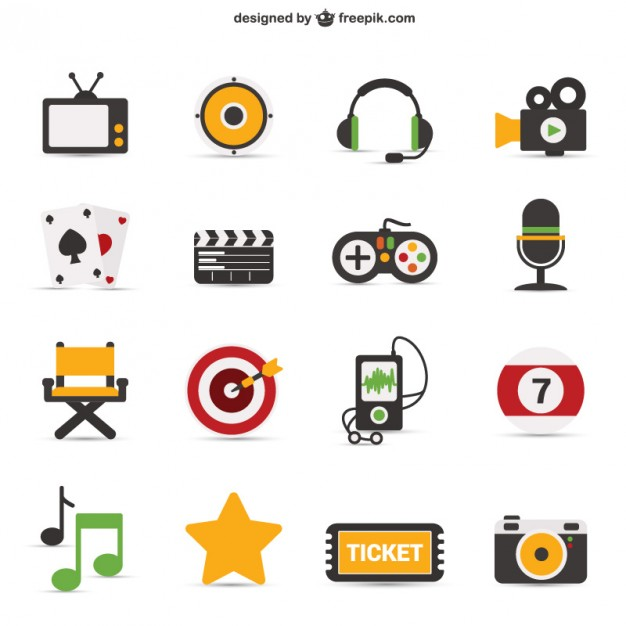 Colorful iconic objects  Vector | Free Download