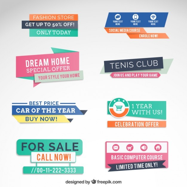 Colorful sale banners  Vector   Free Download