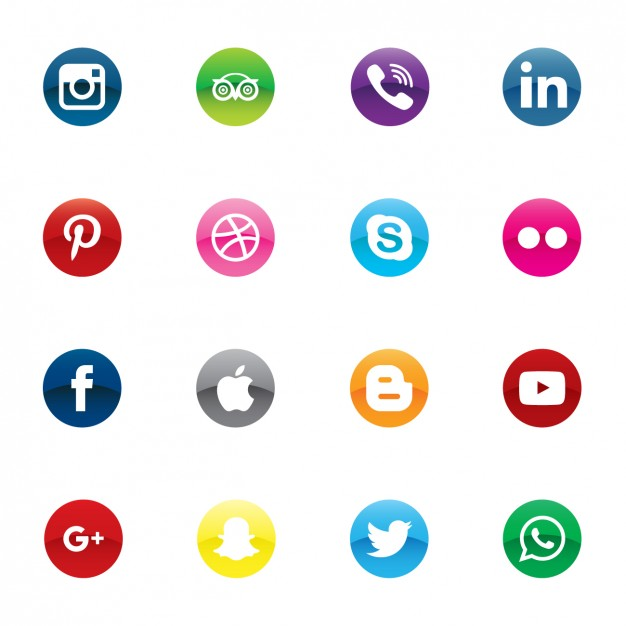 Colorful social media icons  Vector | Free Download