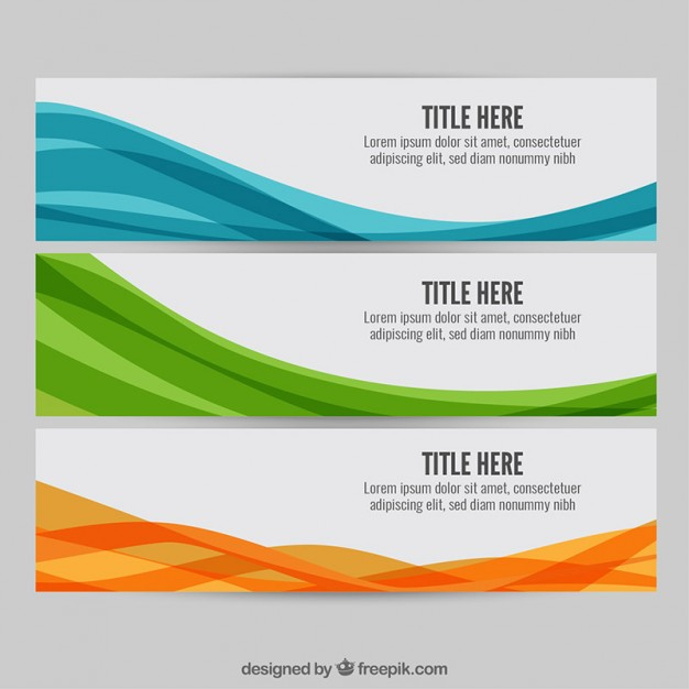 Colourful wave web banners  Vector | Free Download