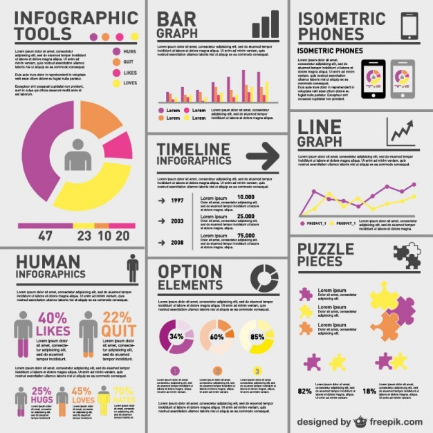 Complex statistics infographic   Vector | Free Download
