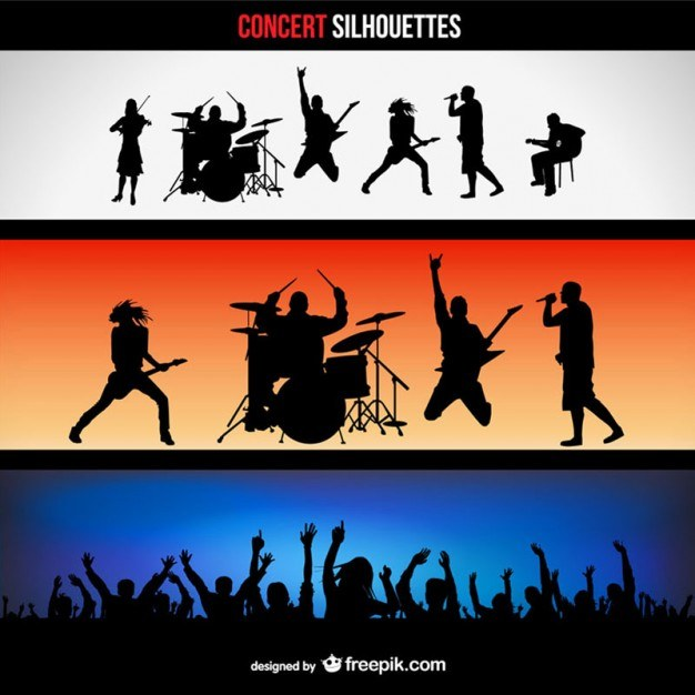 Concert silhouettes banners set  Vector | Free Download