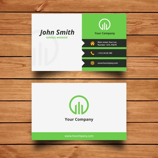 Corporate green business card design  Vector | Free Download