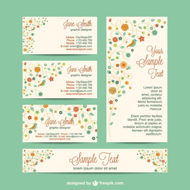 Corporate identity set flowers design  Vector | Free Download