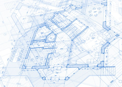 Creative architecture blueprint design vector 01