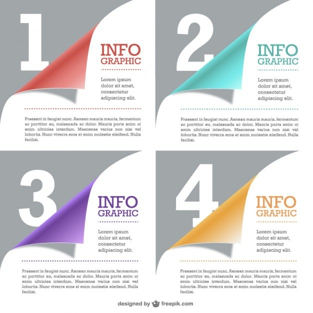 Curled pages free infographic   Vector | Free Download