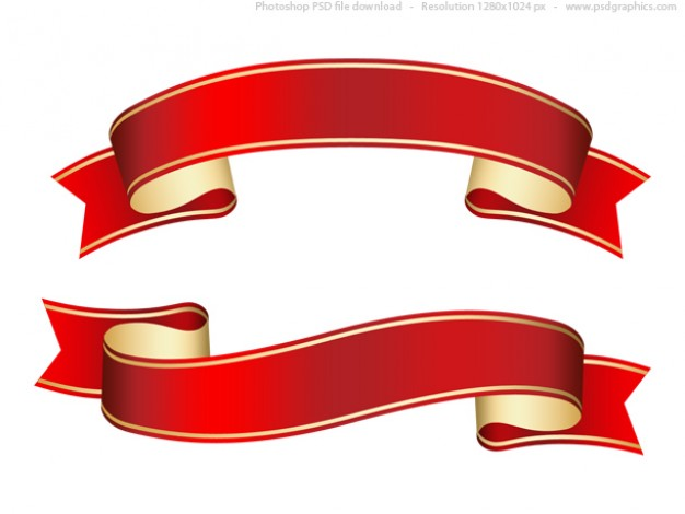 Curled red ribbon (banner), PSD template  PSD file | Free Download