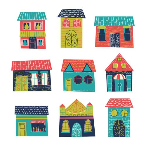 Different house set vector 04