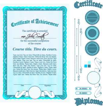 Diploma Certificate Template and ornaments vector 04