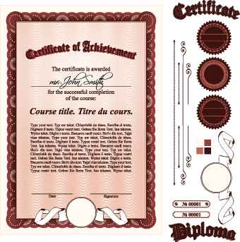 Diploma Certificate Template and ornaments vector 03