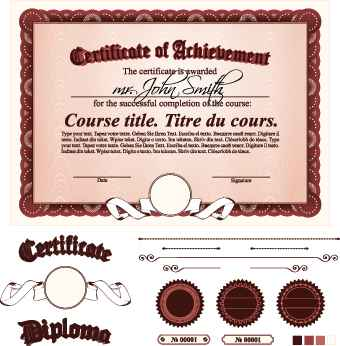 Diploma Certificate Template and ornaments vector 02