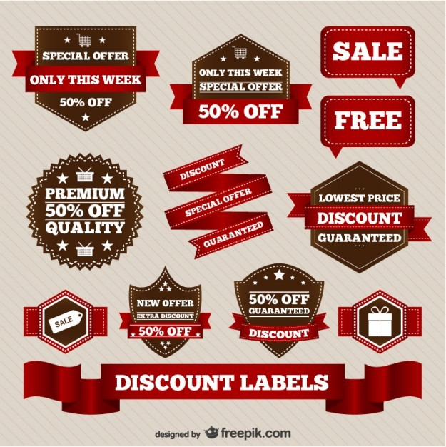 Discount retro sale elements   Vector | Free Download