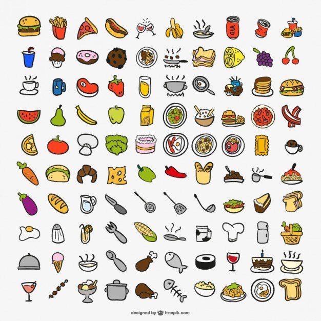 Drawing cooking color icons  Vector | Free Download