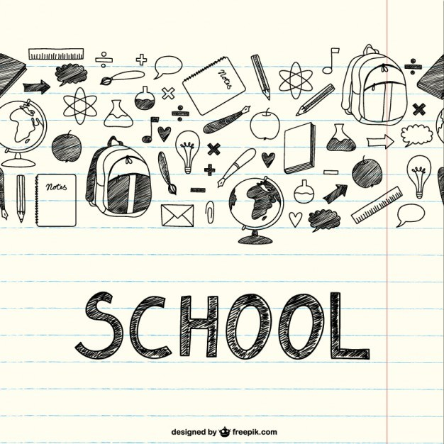 Drawing school items on a notebook Vector | Free Download