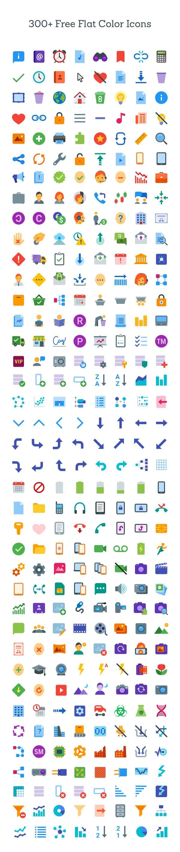 300+ Flat Color Icons | GraphicBurger