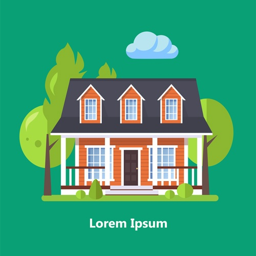 Flat style houses creative template vector set 15