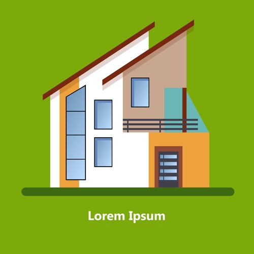 Flat style houses creative template vector set 11