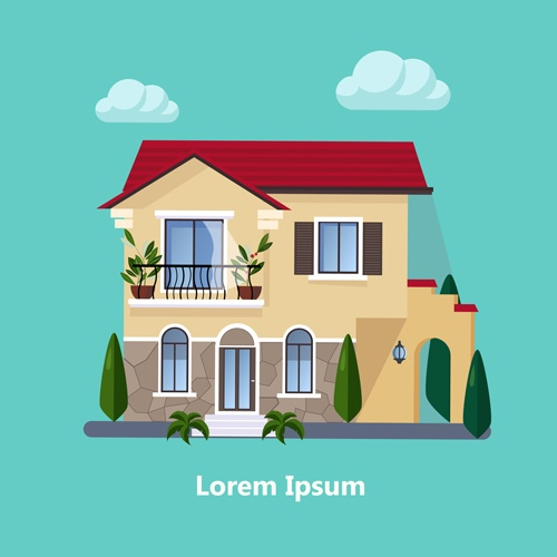 Flat style houses creative template vector set 05