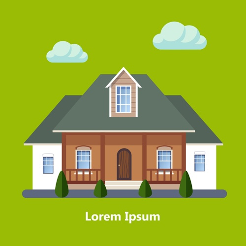 Flat style houses creative template vector set 02