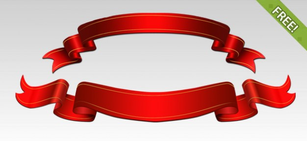 Free PSD Red Ribbons  PSD file   Free Download