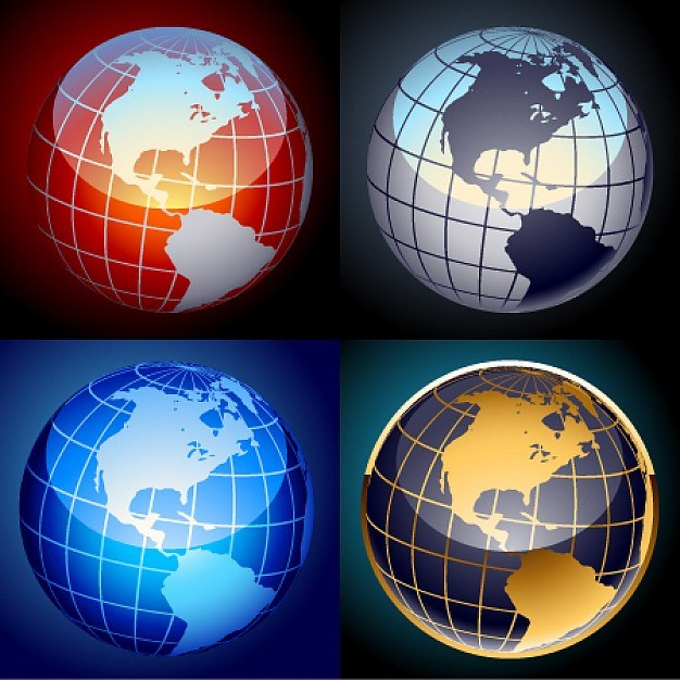 Free set of vector globes  Vector | Free Download