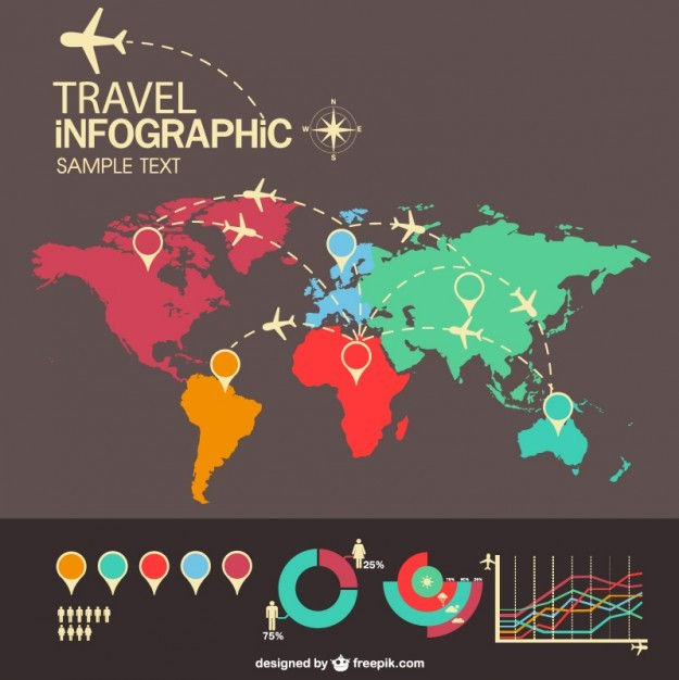 Free travel airplane infography   Vector | Free Download