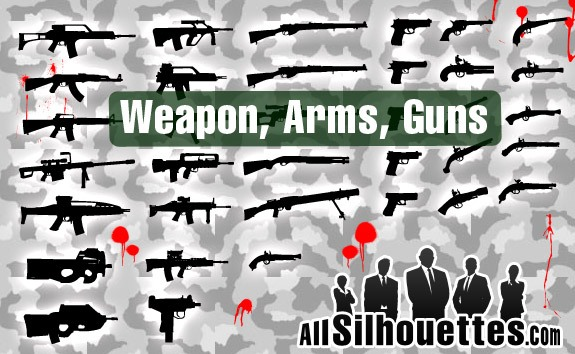 Free Vector Arms and Guns – All-Silhouettes