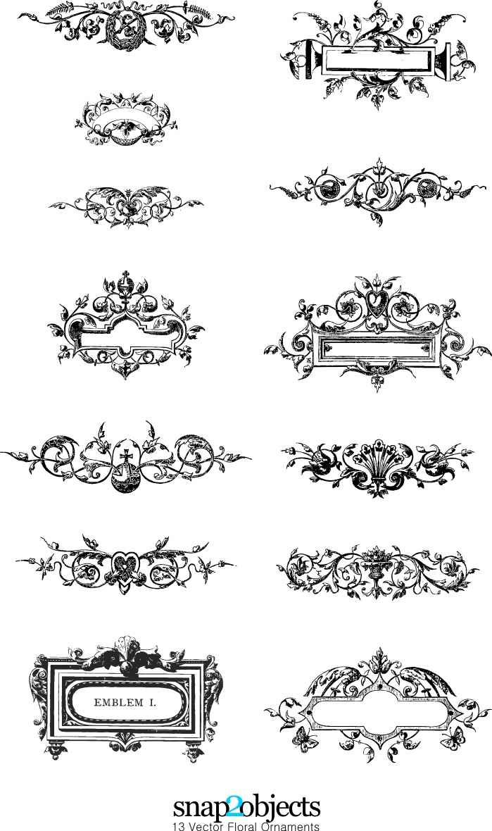 14 free vector floral ornaments pack 03 epin u2013 free graphic